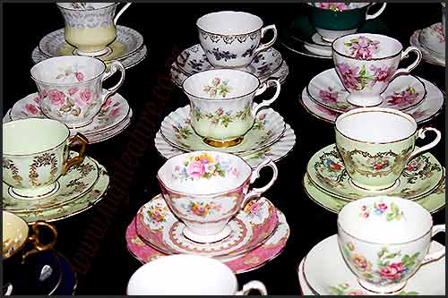 Vintage china tea sets for hire at High tea Hire