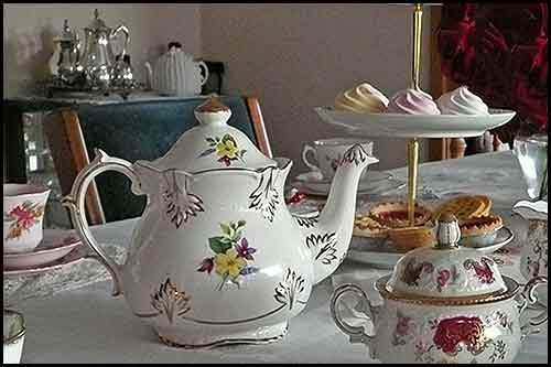 Afternoon tea dining with vintage china high hire napier nz
