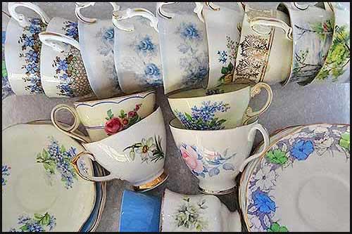 Blue Vintage cup sets high tea hire Napier nz