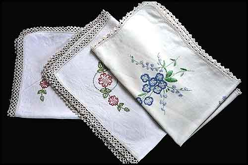 Embroidered tea tray cloth at high tea hire napier nz