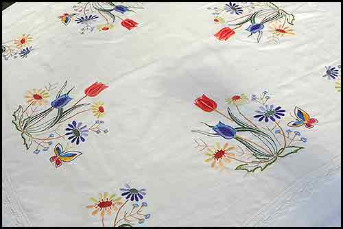 Embroidered tulips tablecloth party high tea hire napier nz