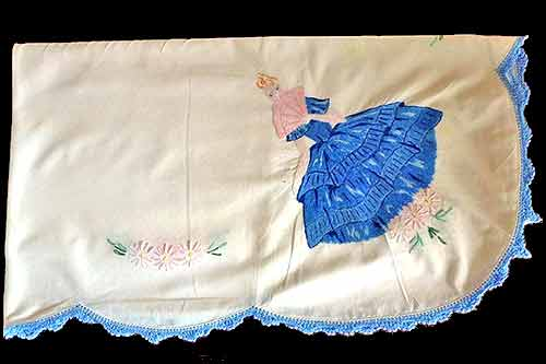 Lady in blue party high tea hire, tablecloth