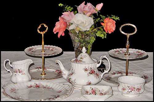 Vintage china available for hire with High Tea Hire Napier NZ