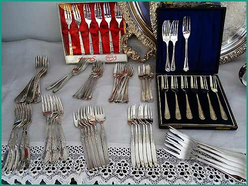 Dozens-of-Silver-cake-Forks-for-hire-with-High-Tea-Hire-Napier