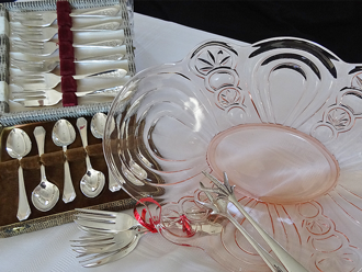 Many glass dishes for hire at highteahire.co.nz