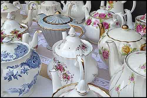 Vintage China Teapots events hirage functions High Tea Hire Napier NZ