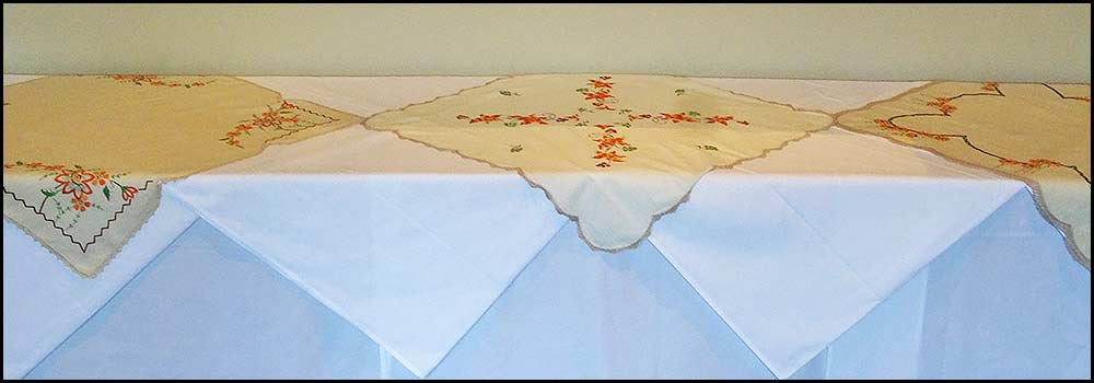 Embroidered Linen tablecloths for hire, Vintage China Hire, Napier NZ
