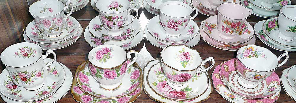 Pink Bone China English cup sets, high tea hire napier nz