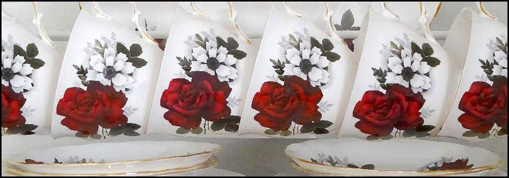 Queen Anne rack of cup sets vintage china hire napier nz