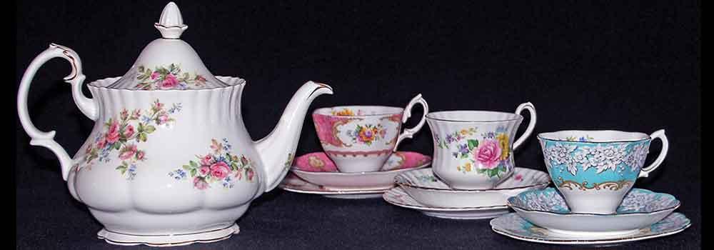 Royal Albert Moss Rose Teapot Enchantment cup set High Tea Hire Napier NZ