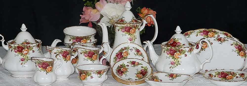 Dozens of vintage china tea sets for hire at High tea Hire