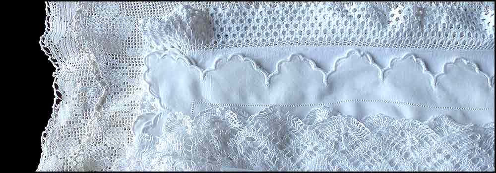 Assorted vintage lace cloths for hire with High Tea Hire