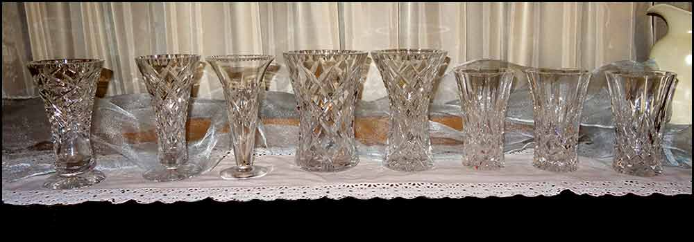 Crystal and depression glass vases at High Tea Hire