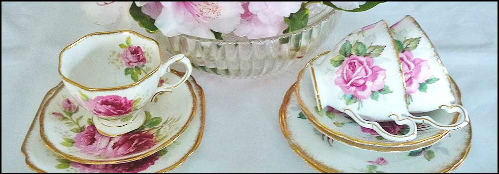 American Rose cup sets,  vintage china hire napier nz