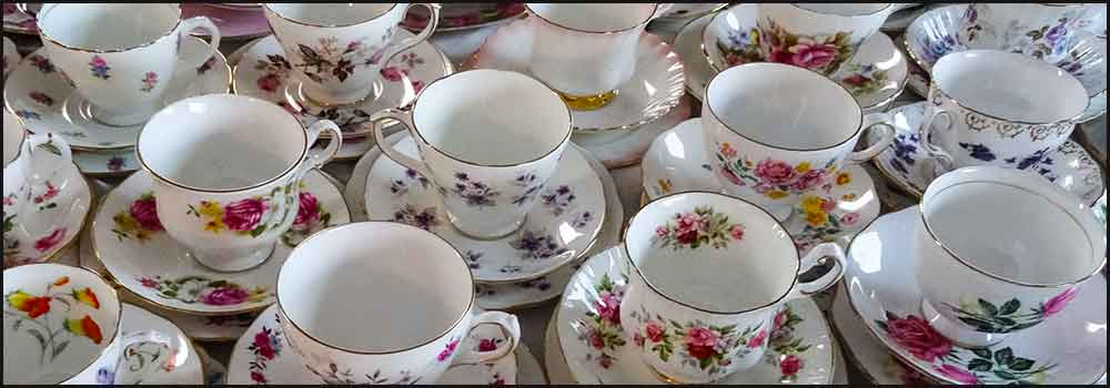 Group of vintage cups for hire high tea hire napier nz