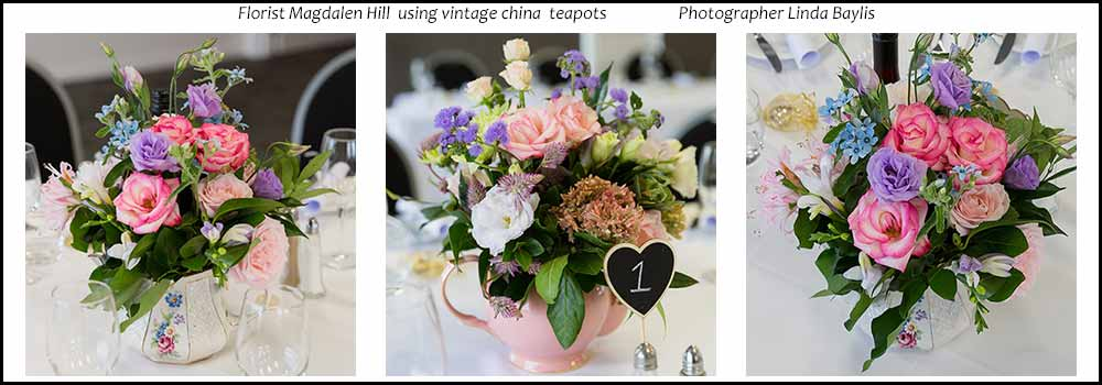 Vintage-teapots-Floral-display-wedding-high-tea-hire-napier-nz