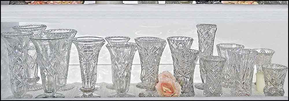 Depression glass milk creamers and much more at High Tea Hire