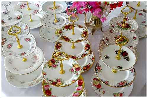 Mix-and-Match-Vintage-3-tiered-plates-High-Tea-Hire