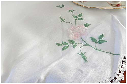 Antique-linen-cloth-High-Tea-Hire-Napier-New-Zealand