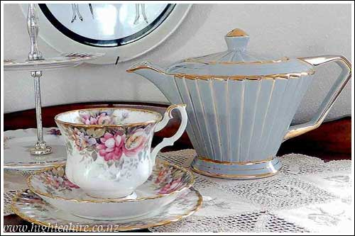 Art-Deco-teapot-Royal-Albert-Autumn-Roses-Hire-High-Tea-Napier-New Zealand
