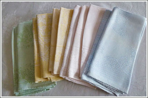 Assortmant-of-vintage-pastel-table-napkins-High-Tea-Hire-Napier-NZ
