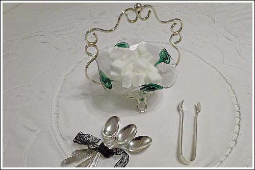 Deco-Sugar-bowl-Tongs-Teaspoons-high-tea-hire